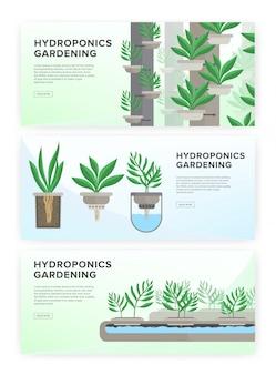 System hydroponiczny, technologia ogrodnicza. kolekcja poziomych banerów z miejscem na tekst.