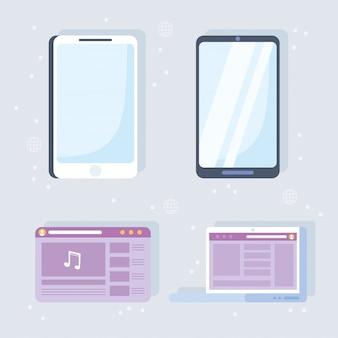 System i technologie komunikacji w sieci społecznościowej laptop smartfon zawartość strony internetowej muzyka