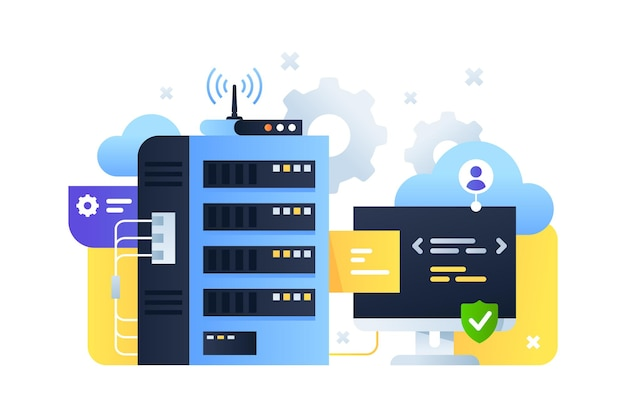 System komputerowy wykorzystujący do strojenia serwerów w chmurze wraz z programowaniem. koncepcja technologii cyfrowej i online wykorzystująca nowoczesną technologię podłączonego komputera pc z aktualizacją bezprzewodową.