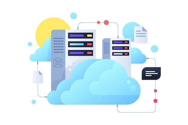 System komputerowy wykorzystujący serwery w chmurze ze słońcem. koncepcja dokumentów cyfrowych i wiadomości wykorzystująca nowoczesną technologię podłączonego komputera.