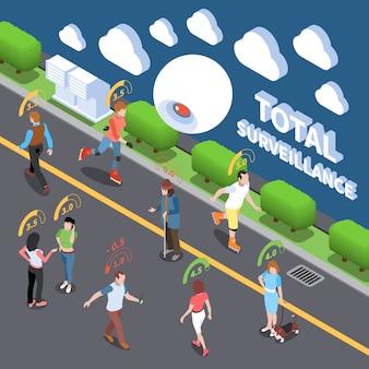 System oceny wyników kredytu społecznego izometryczny ilustracja