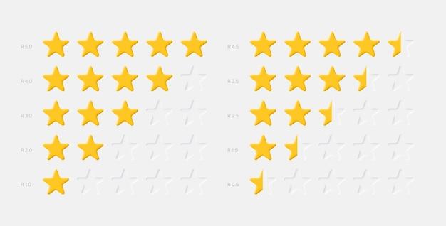 System oceny żółtych gwiazdek na białym tle