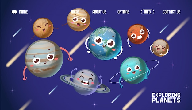System planet, odkrywania planet lądowania banner ilustracji. postać z kreskówki jowisz, saturn, uran, neptun.