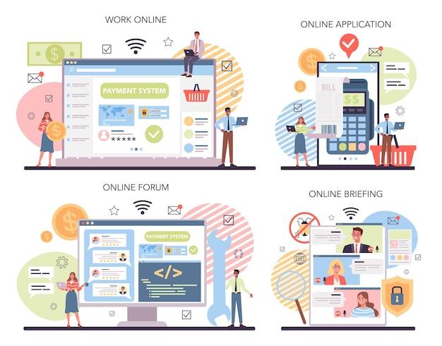 System płatności internetowych testujący usługę online lub zestaw platform