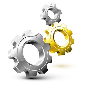 System przekładni złożony ze srebrnych i złotych kół