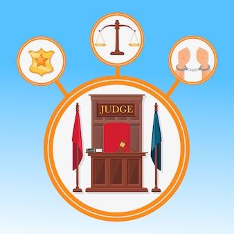 System sądowy symbole płaski wektor szablon transparent