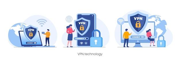 System technologii vpn, strona internetowa odblokowująca przeglądarkę, płaski wektor ilustracja połączenia internetowego