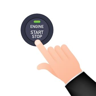 System uruchamiania i zatrzymywania silnika. start silnika. osoba naciska palcem przycisk start i stop silnika samochodu.
