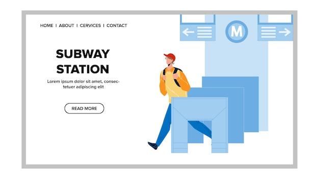 System wejścia do stacji metra pass pasażera wektor. chłopiec bariery stacji metra przechodzący ze sprzętem do kontroli biletów transportowych. charakter człowieka idącego do podziemnej sieci płaskiej ilustracja kreskówka