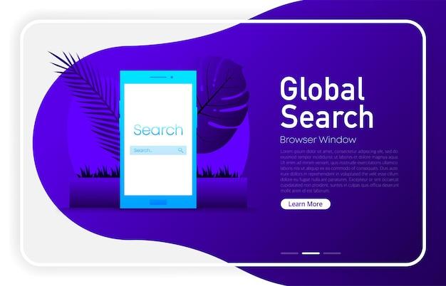 System wyszukiwania na ekranie telefonu na ciemnym kolorze gradientu. okno przeglądarki. ilustracja wektorowa.
