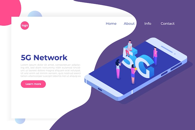 Systemy bezprzewodowe sieci 5g, koncepcja izometryczna szybkiego mobilnego internetu.