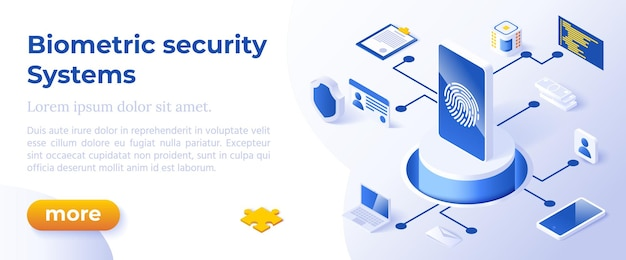 Systemy zabezpieczeń biometrycznych - izometryczny projekt w modnych kolorach izometryczne ikony na niebieskim tle. szablon układu banera do tworzenia stron internetowych