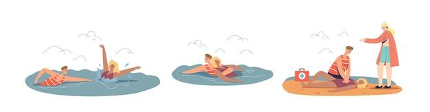 Sytuacja awaryjna na plaży nad oceanem z profesjonalnym ratownikiem ratującym i udzielającym pierwszej pomocy tonącej turystce podczas pływania w morzu. ilustracja kreskówka płaski wektor