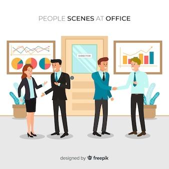 Sytuacja ludzi na płaskim tle biura