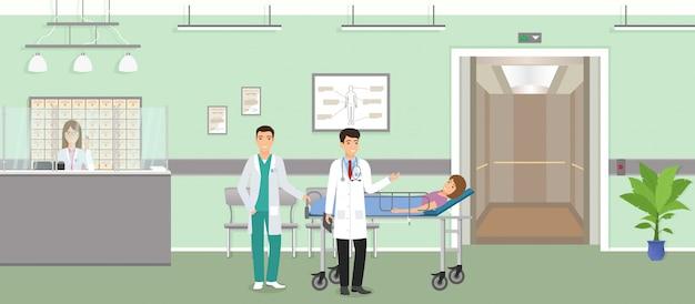 Sytuacja medyczna z pacjentem na medycznej kanapie z dwoma lekarzami w szpitalu. nowoczesna sala przychodni lekarskiej z recepcjonistą
