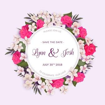 Szablon ślubu wianek kwiatowy