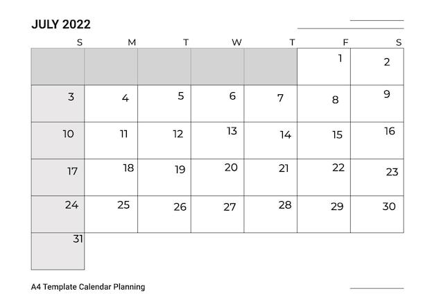 Szablon a4 kalendarz planowanie lipiec