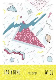 Szablon afisz party. plakat w stylu lat 80-90 z geometrycznymi nowoczesnymi kształtami. ilustracja wektorowa