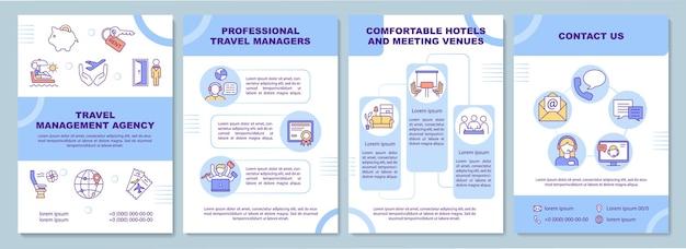 Szablon agencji zarządzania podróżami. firma i podróżnik. ulotka, broszura, druk ulotek, projekt okładki z liniowymi ikonami.