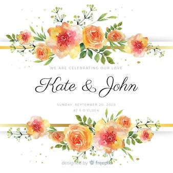 Szablon akwarela wesele kwiatowy karty