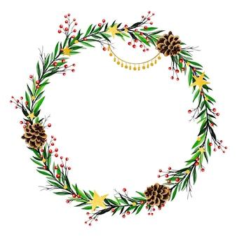 Szablon akwarela wieniec bożonarodzeniowy