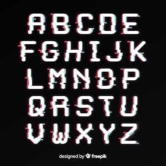 Szablon alfabetu glitch