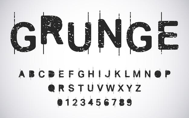 Szablon alfabetu grunge. zestaw liter i cyfr w trudnej sytuacji typografii
