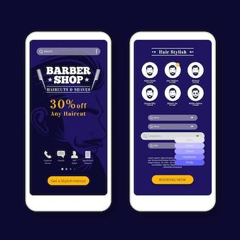 Szablon aplikacji do rezerwacji sklepu fryzjer