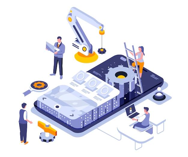 Szablon aplikacji izometryczny ilustracja rozwoju aplikacji