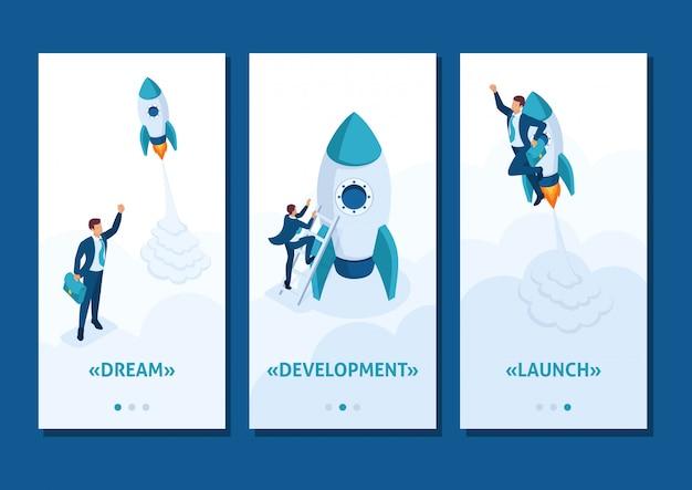 Szablon aplikacji izometryczny wyścig o przywództwo, konkurencję młodego biznesmena, aplikacje na smartfony