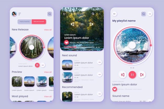 Szablon aplikacji medytacji z ekranami smartfonów