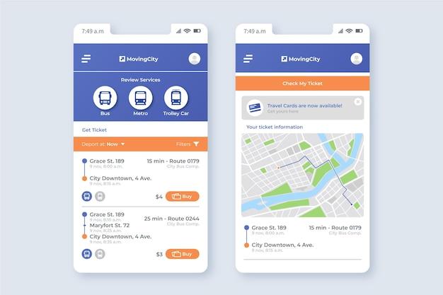 Szablon aplikacji mobilnej transportu publicznego