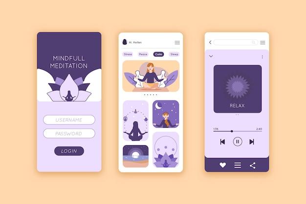 Szablon aplikacji na smartfona medytacja