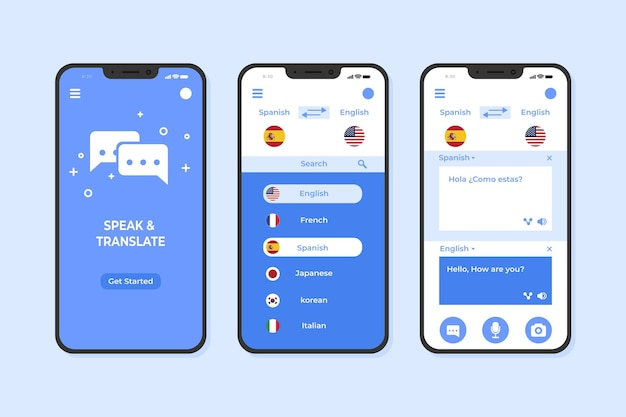 Szablon aplikacji na smartfona tłumacza