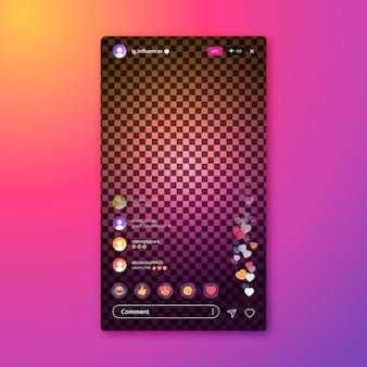 Szablon aplikacji na żywo interfejs aplikacji na instagramie