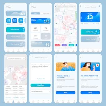 Szablon aplikacji śledzącej covid-19 wektor mobilny ekran