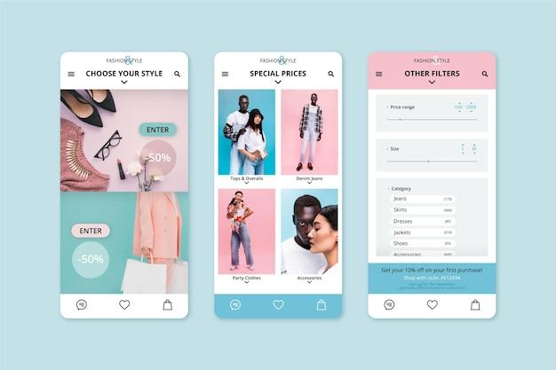 Szablon aplikacji zakupy moda