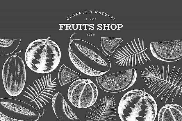 Szablon arbuza, melona i liści tropikalnych.