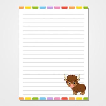 Szablon arkusza do notatnika, notatnika, pamiętnika. z wizerunkiem uroczej postaci. ilustracja na białym tle wektor