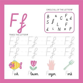 Szablon arkusza roboczego litery f.