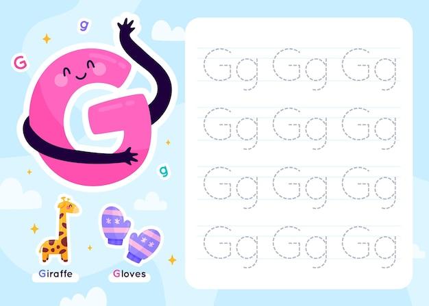 Szablon arkusza roboczego litery g