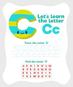 Szablon arkusza z literą c