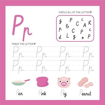 Szablon arkusza z literą p