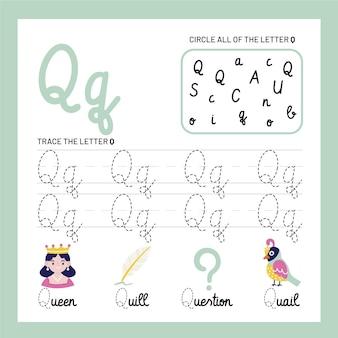 Szablon arkusza z literą q