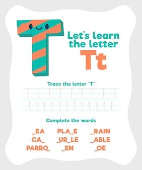 Szablon arkusza z literą t