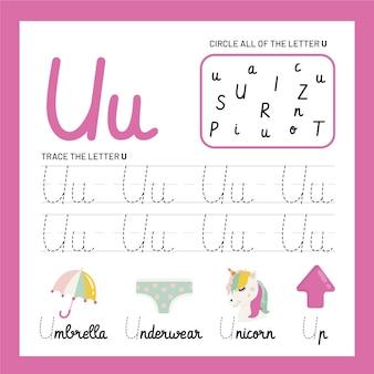 Szablon arkusza z literą u