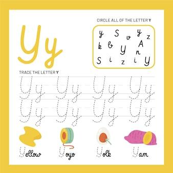 Szablon arkusza z literą y