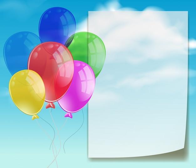 Szablon baner z kolorowych balonów w błękitne niebo