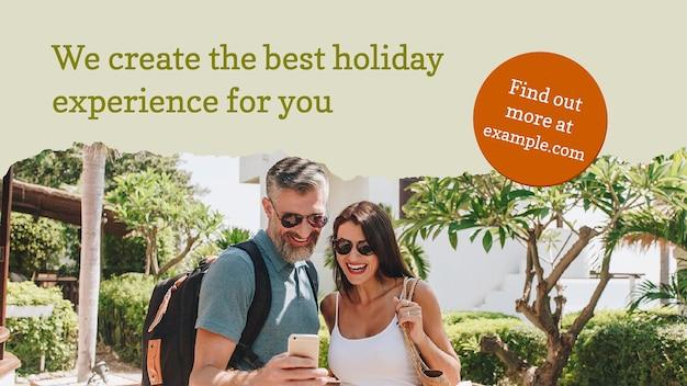 Szablon banera biura podróży ze zdjęciem do dołączenia reklama promocyjna