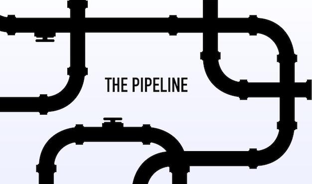 Szablon banera internetowego przemysłowe tło z rurociągiem ropa naftowa lub gazociąg z armaturą